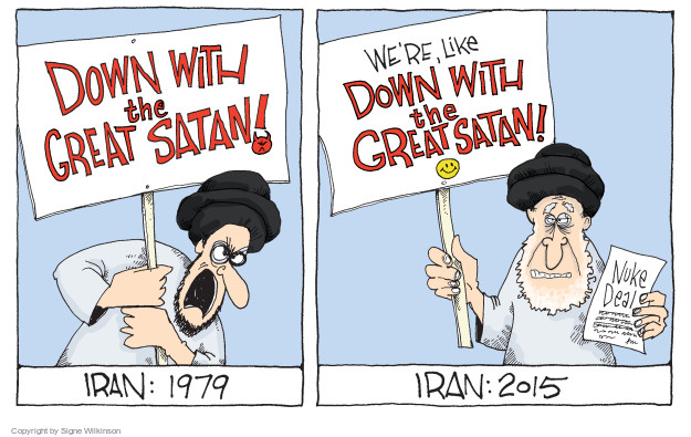 Down with the Great Satan! Iran: 1979. Were, like Down with the Great Saran! Nuke deal. Iran: 2015.