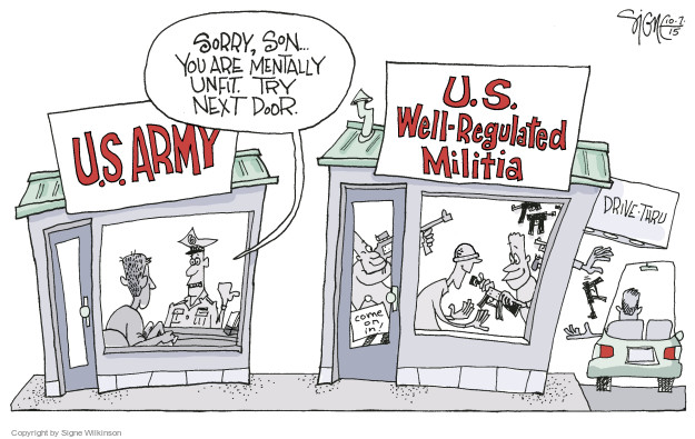 Cartoonist Signe Wilkinson  Signe Wilkinson's Editorial Cartoons 2015-10-07 gun control