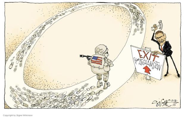 Cartoonist Signe Wilkinson  Signe Wilkinson's Editorial Cartoons 2015-10-18 Obama Afghanistan