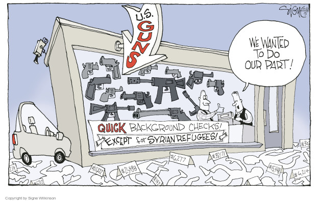 Cartoonist Signe Wilkinson  Signe Wilkinson's Editorial Cartoons 2015-11-22 gun rights