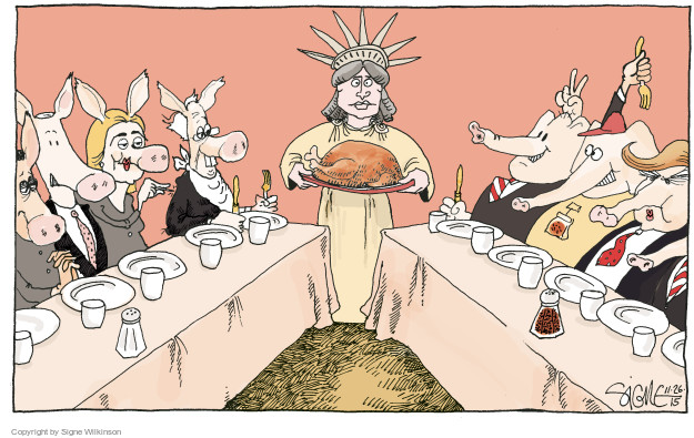 Cartoonist Signe Wilkinson  Signe Wilkinson's Editorial Cartoons 2015-11-26 Thanksgiving
