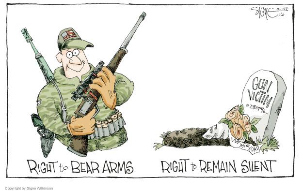 Cartoonist Signe Wilkinson  Signe Wilkinson's Editorial Cartoons 2016-01-07 gun rights