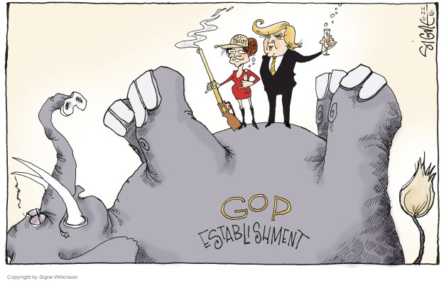 Signe Wilkinson  Signe Wilkinson's Editorial Cartoons 2016-01-22 Donald Trump Sarah Palin