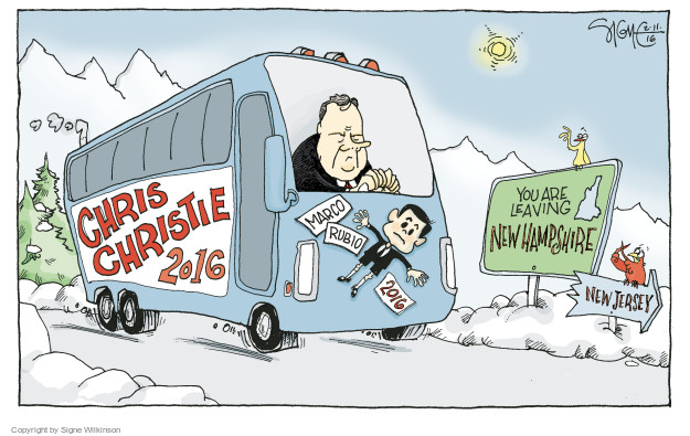 Christ Christie 2016. Marco Rubio 2016. You are leaving New Hampshire. New Jersey.