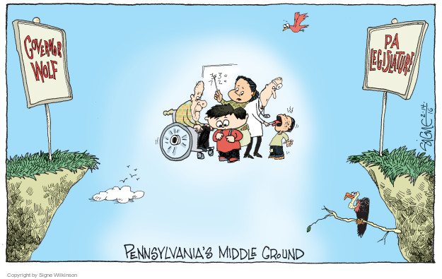 Cartoonist Signe Wilkinson  Signe Wilkinson's Editorial Cartoons 2016-02-14 Pennsylvania Governor