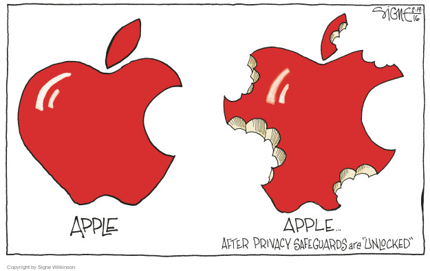 Cartoonist Signe Wilkinson  Signe Wilkinson's Editorial Cartoons 2016-02-19 cell phone privacy