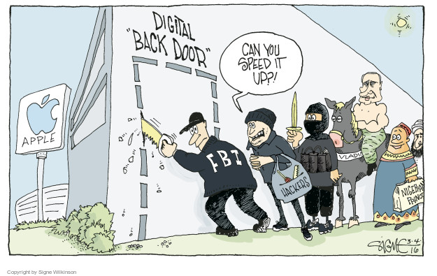 Cartoonist Signe Wilkinson  Signe Wilkinson's Editorial Cartoons 2016-03-04 cell phone privacy