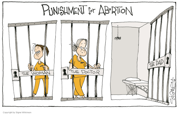Cartoonist Signe Wilkinson  Signe Wilkinson's Editorial Cartoons 2016-04-03 gender discrimination