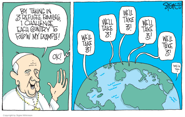 Signe Wilkinson  Signe Wilkinson's Editorial Cartoons 2016-04-22 Europe immigration