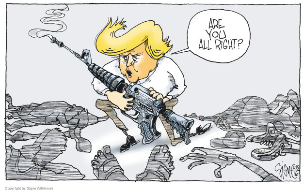 Cartoonist Signe Wilkinson  Signe Wilkinson's Editorial Cartoons 2016-06-15 gun rights