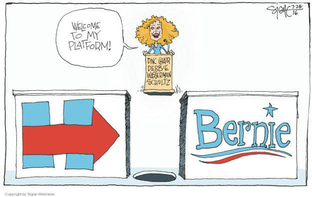 Signe Wilkinson  Signe Wilkinson's Editorial Cartoons 2016-07-25 Hillary Clinton and Bernie Sanders
