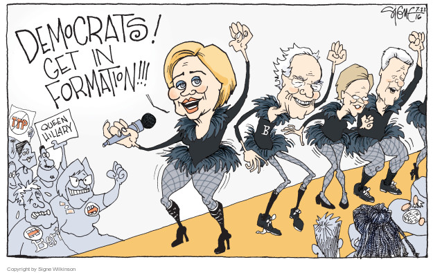 Signe Wilkinson  Signe Wilkinson's Editorial Cartoons 2016-07-27 Hillary Clinton and Bernie Sanders