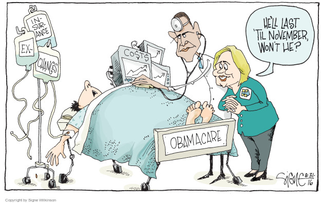 Cartoonist Signe Wilkinson  Signe Wilkinson's Editorial Cartoons 2016-08-31 health care reform