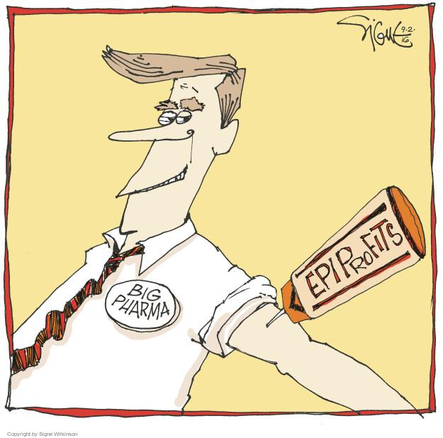 Cartoonist Signe Wilkinson  Signe Wilkinson's Editorial Cartoons 2016-09-02 profit