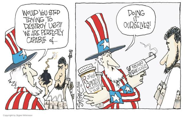 Cartoonist Signe Wilkinson  Signe Wilkinson's Editorial Cartoons 2016-09-22 terrorism