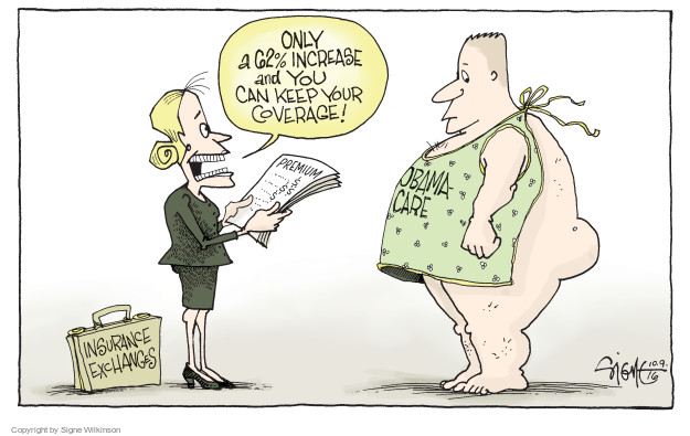 Cartoonist Signe Wilkinson  Signe Wilkinson's Editorial Cartoons 2016-10-09 affordable care act