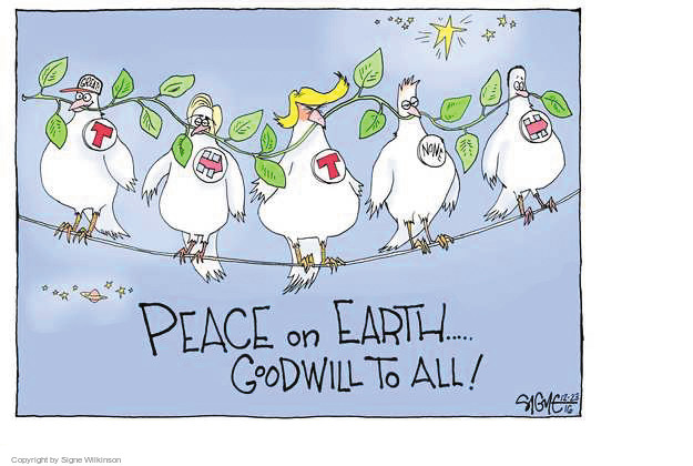 Cartoonist Signe Wilkinson  Signe Wilkinson's Editorial Cartoons 2016-12-25 2016 Election Donald Trump