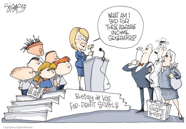Cartoonist Signe Wilkinson  Signe Wilkinson's Editorial Cartoons 2017-02-05 profit