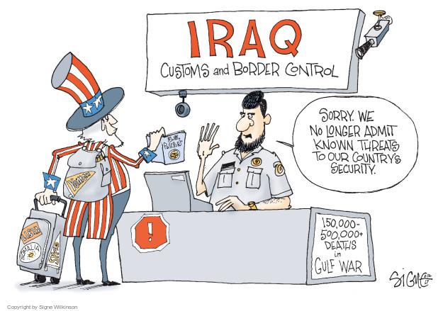 Cartoonist Signe Wilkinson  Signe Wilkinson's Editorial Cartoons 2017-02-10 Iraq