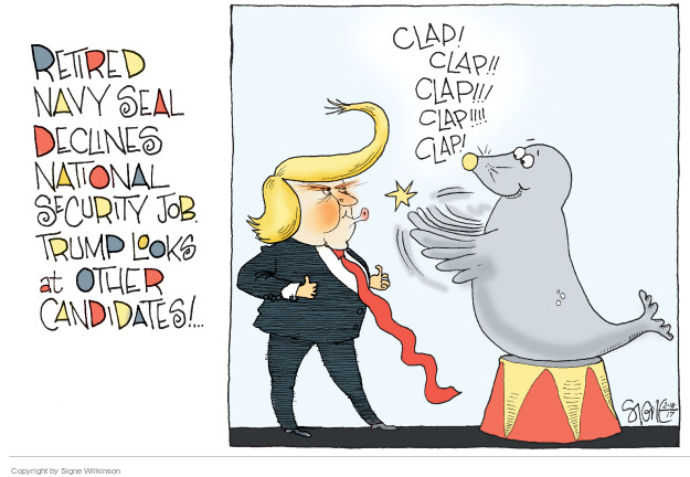 Cartoonist Signe Wilkinson  Signe Wilkinson's Editorial Cartoons 2017-02-18 presidential appointment