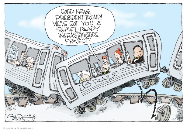 Cartoonist Signe Wilkinson  Signe Wilkinson's Editorial Cartoons 2017-04-06 transportation