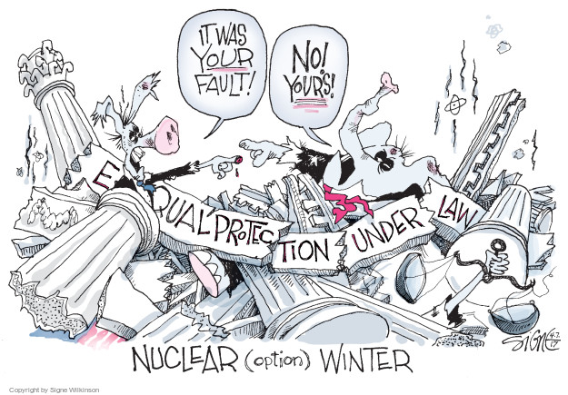 Cartoonist Signe Wilkinson  Signe Wilkinson's Editorial Cartoons 2017-04-07 nuclear