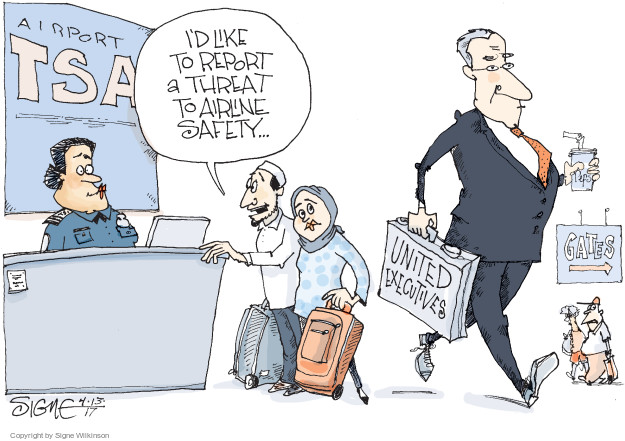 Cartoonist Signe Wilkinson  Signe Wilkinson's Editorial Cartoons 2017-04-13 airport security