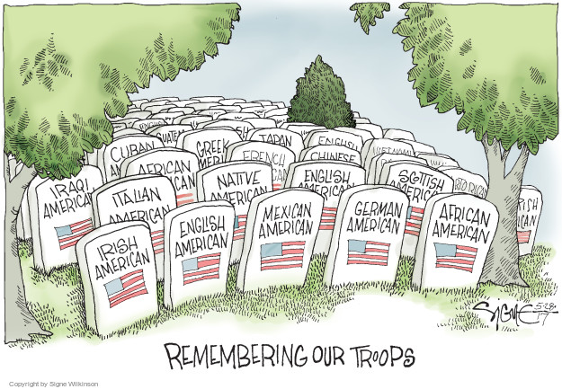 Remembering our troops. Irish American. English American. Mexican American. German American. African American. Italian American. Native American. English American. Scottish American. Iraqi American. French. Chinese. Cuban. Greek. Japan.