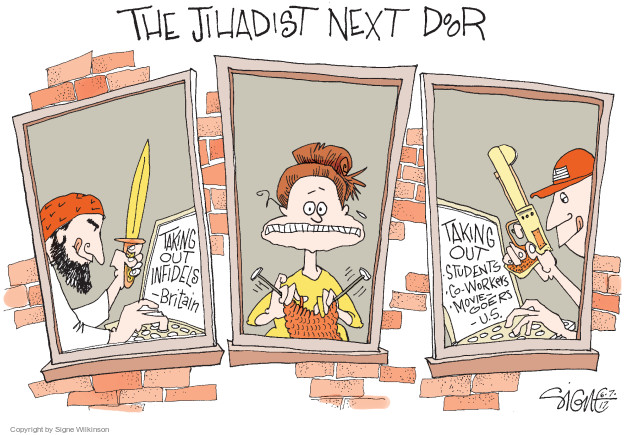 The Jihadist Next Door. Taking out infidels - Britain. Taking out students, co-workers, movie-goers - U.S.