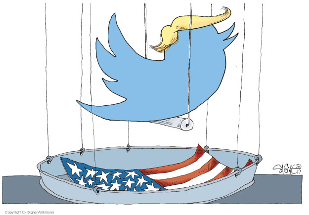No caption (The twitter logo wearing a Trump hairpiece is in a birdcage. The American flag is used to line the cage floor).