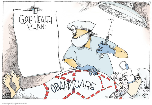 Cartoonist Signe Wilkinson  Signe Wilkinson's Editorial Cartoons 2017-07-13 affordable care act