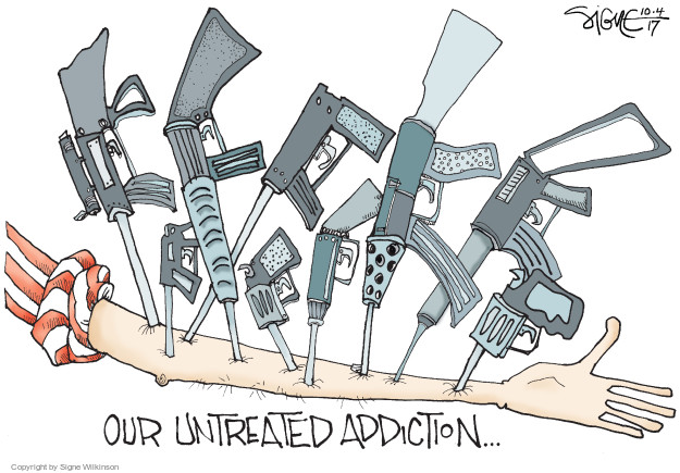 Cartoonist Signe Wilkinson  Signe Wilkinson's Editorial Cartoons 2017-10-04 gun rights