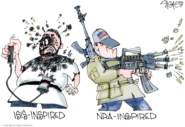 Cartoonist Signe Wilkinson  Signe Wilkinson's Editorial Cartoons 2017-12-14 gun rights