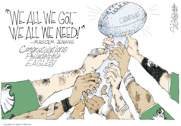 Cartoonist Signe Wilkinson  Signe Wilkinson's Editorial Cartoons 2018-02-08 Super Bowl