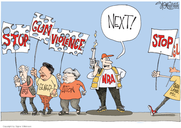 Cartoonist Signe Wilkinson  Signe Wilkinson's Editorial Cartoons 2018-03-14 NRA