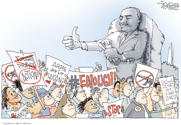 Cartoonist Signe Wilkinson  Signe Wilkinson's Editorial Cartoons 2018-03-24 NRA