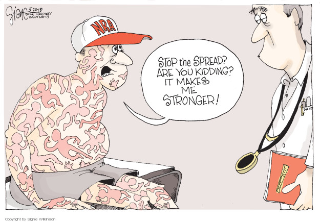 Cartoonist Signe Wilkinson  Signe Wilkinson's Editorial Cartoons 2018-05-20 gun rights