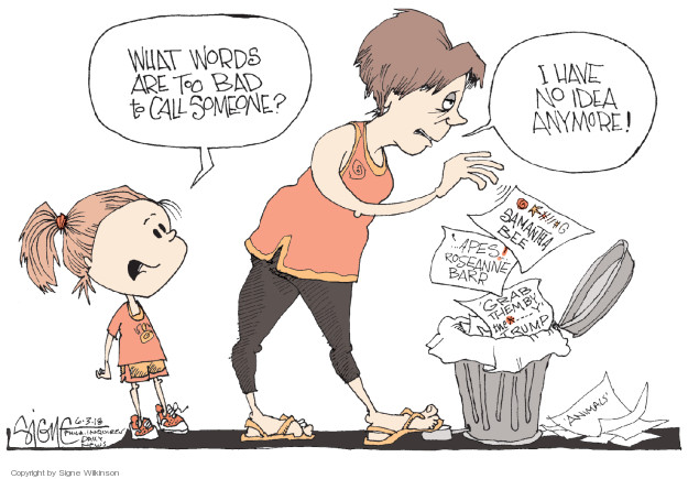 Cartoonist Signe Wilkinson  Signe Wilkinson's Editorial Cartoons 2018-06-03 racial discrimination