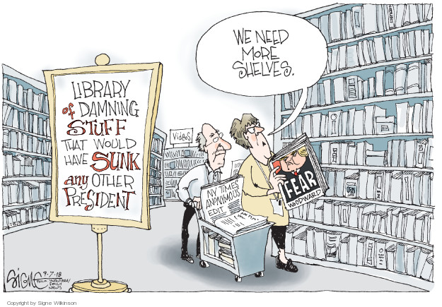 Library of damning stuff that would have sunk any other president. We need more shelves. Fear. Woodward. NY Times Anonymous edit.