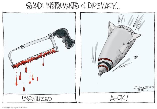 Cartoonist Signe Wilkinson  Signe Wilkinson's Editorial Cartoons 2018-10-18 weaponry