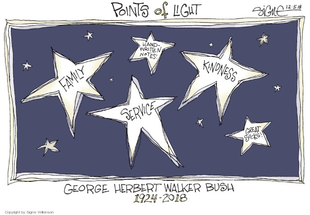 Points of Light. Family. Hand-written notes! Kindness. Service. Great socks! George Herbert Walker Bush 1924-2018.