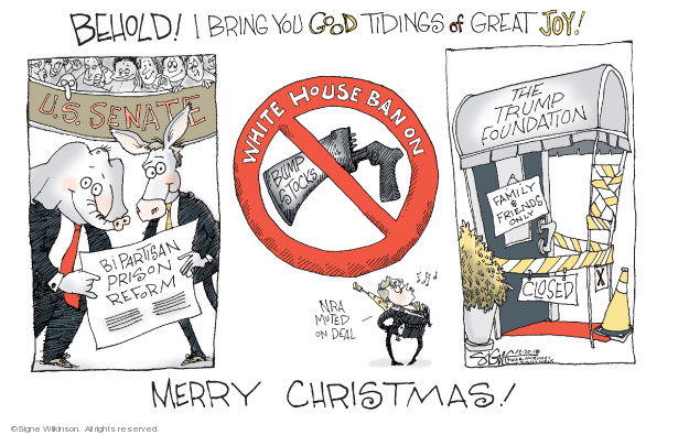 Behold! I bring you good tidings of great joy! U.S. Senate. Bipartisan prison reform. White House Ban on bump stocks. NRA muted on deal. The Trump Foundation. Family & friends only. Closed. Merry Christmas!