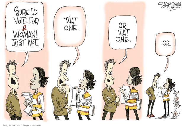 Cartoonist Signe Wilkinson  Signe Wilkinson's Editorial Cartoons 2019-02-13 gender discrimination