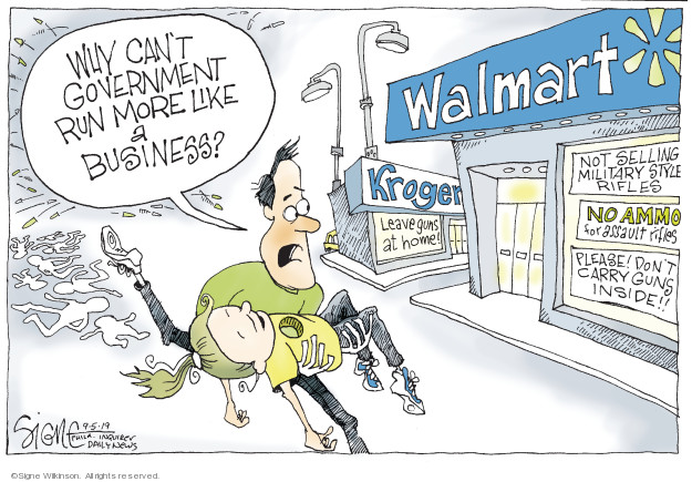 Cartoonist Signe Wilkinson  Signe Wilkinson's Editorial Cartoons 2019-09-05 gun rights