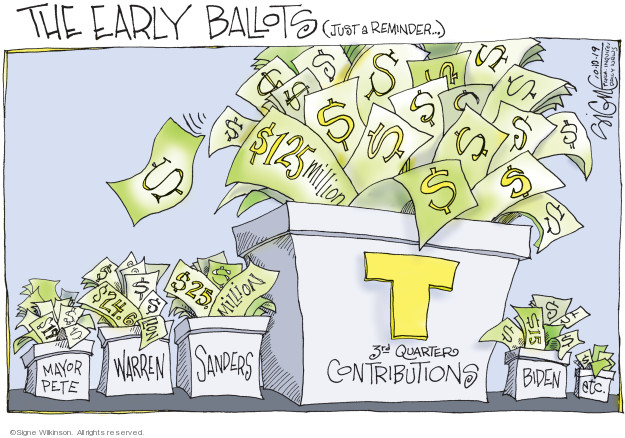 The early ballots (Just a reminder … ) S125 million. Mayor Pete. Warren. Sanders. T 3rd quarters contributions. Biden. Etc.