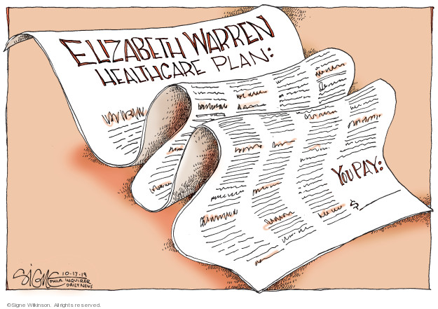 Cartoonist Signe Wilkinson  Signe Wilkinson's Editorial Cartoons 2019-10-17 health care plan