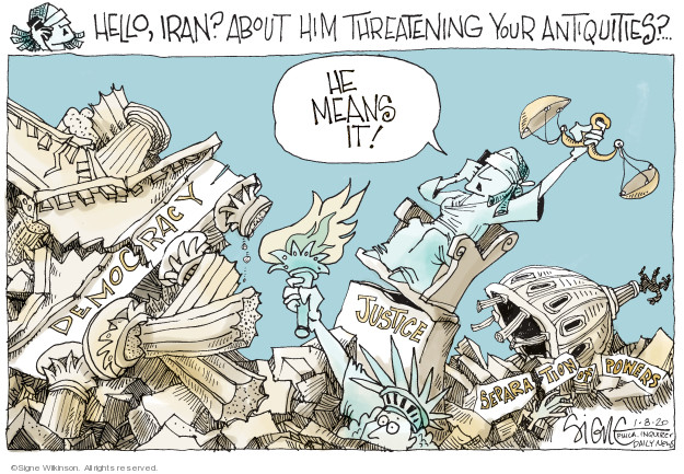 Cartoonist Signe Wilkinson  Signe Wilkinson's Editorial Cartoons 2020-01-08 Iraq