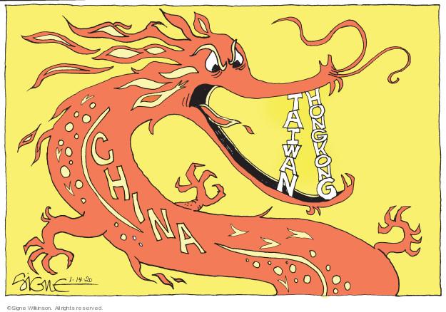Cartoonist Signe Wilkinson  Signe Wilkinson's Editorial Cartoons 2020-01-14 policy