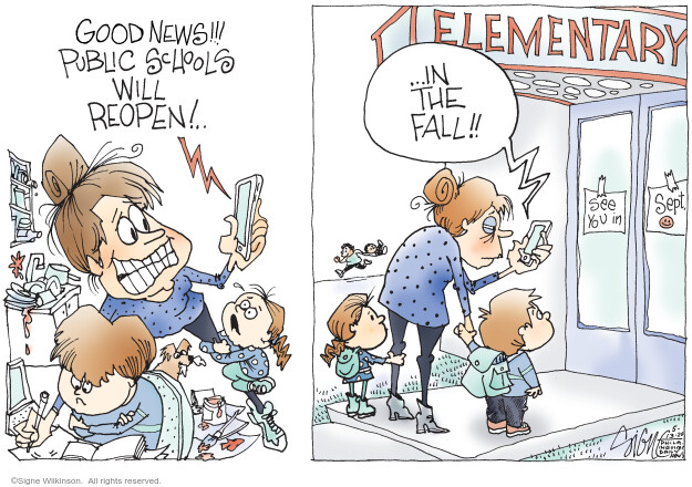 Cartoonist Signe Wilkinson  Signe Wilkinson's Editorial Cartoons 2020-05-13 epidemic