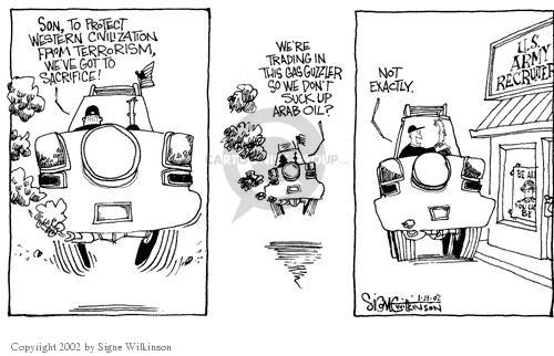 Cartoonist Signe Wilkinson  Signe Wilkinson's Editorial Cartoons 2002-01-11 recruitment